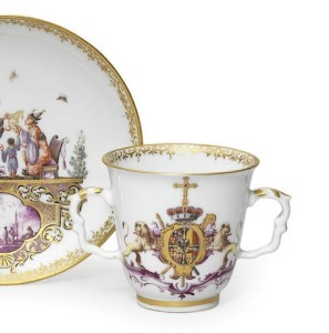 Rare Meissen armorial two-handed beaker and saucer
