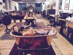 Christina Trevanion and Aaron Dean in copper bath
