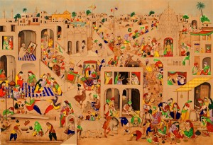 A large Indian painting of a town scene