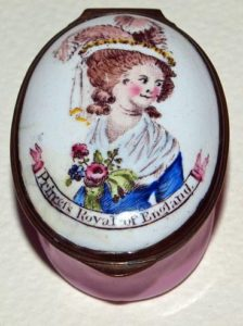 English enamel patch box depicting Princess Charlotte