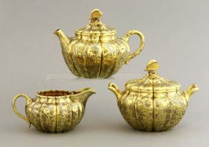 A silver gilt tea set