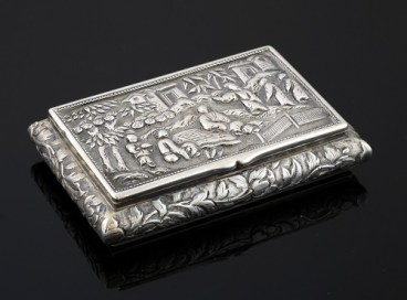 Chinese silverware garnered much interest from buyers at the sale, with a silver snuff box decorated with figures in a landscape with bamboo, selling for £550
