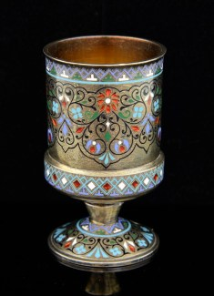Russian silver was particularly popular at the sale, with a silver and champleve enamelled goblet with floral decoration going for -ú800