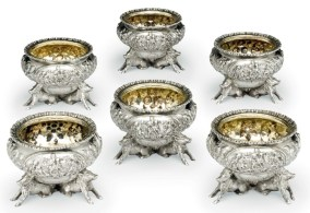 six early Victorian silver salt ce