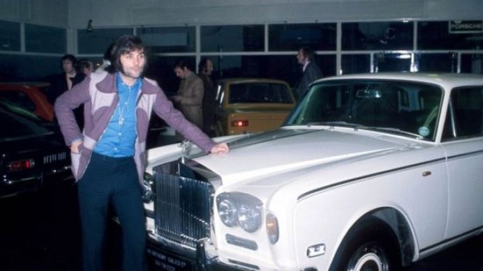 George Best and his white silver shadow Rolls-Royce