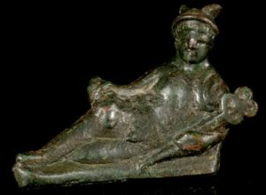 copper alloy figure of a reclining Mercury