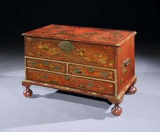 A George I scarlet japanned mule chest