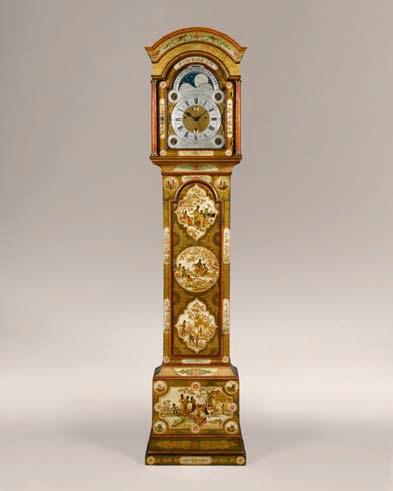 George II period cream lacquer longcase clock