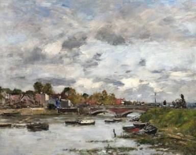 Eugene Boudin (1824-1898), Le Pont sur la Touques a Deauville