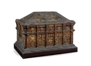 A magnificent and rare painted and parcel gilt walnut and pine boarded chest circa 1510