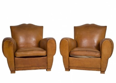 A pair of 1950's French leather armchairs in excellent condition.