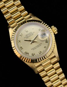 A ladies Rolex Oyster Perpetual Datejust watch with an 18ct-gold bracelet has been valued at between £3500 and £4500