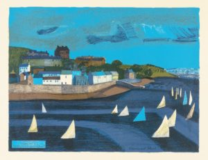 Rosamund Steed, Sailing at Cork, 1962, colour lithograph, © The Artist