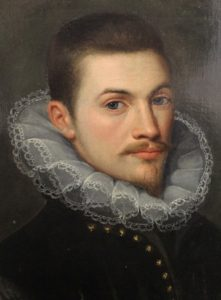 A portrait of a gentlemen in a black jacket and lace ruff