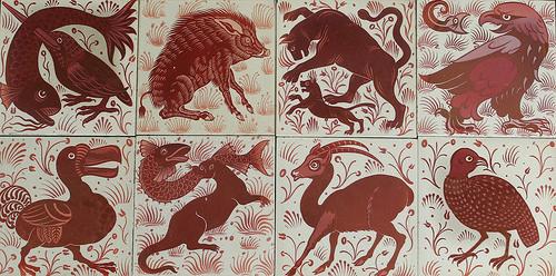 A set of William De Morgan wall tiles