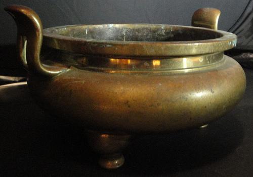 A 19th century Chinese brass censer
