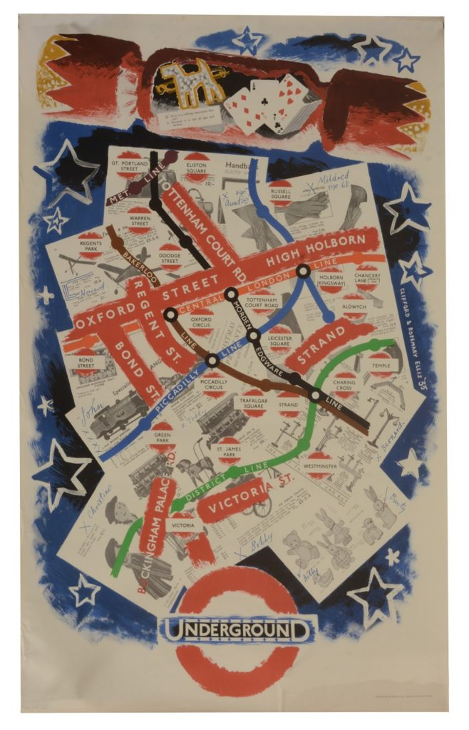 Clifford & Rosemary Ellis, Underground: Tube Map, Colour lithographic poster