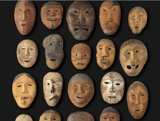 A collection of Eskimo masks