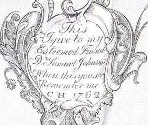 Inscription on silver tankard given to Dr Samuel Johnson