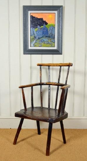 An antique oak chair