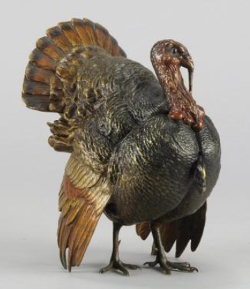 Cold painted bronze turkey