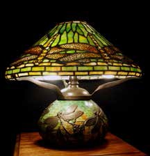 A Tiffany lamp