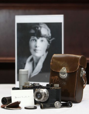 A Leica camera and accessories that once belonged to pioneering pilot Amelia Earhart, which is among a collection of Leicas, prototypes and other cameras due to be auctioned next month by McTear's Auctioneers, Glasgow.