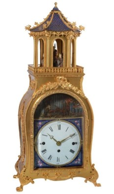 Chinese Qing dynasty gilt bronze and enamel musical automaton table clock