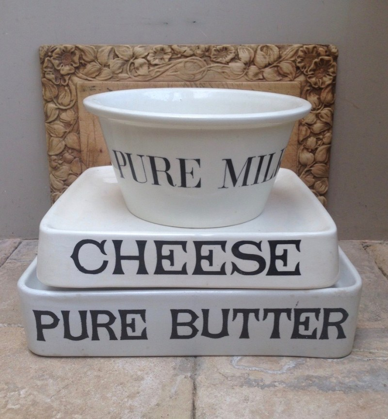 A selection of white dairy ironstone slabs and milk bowl