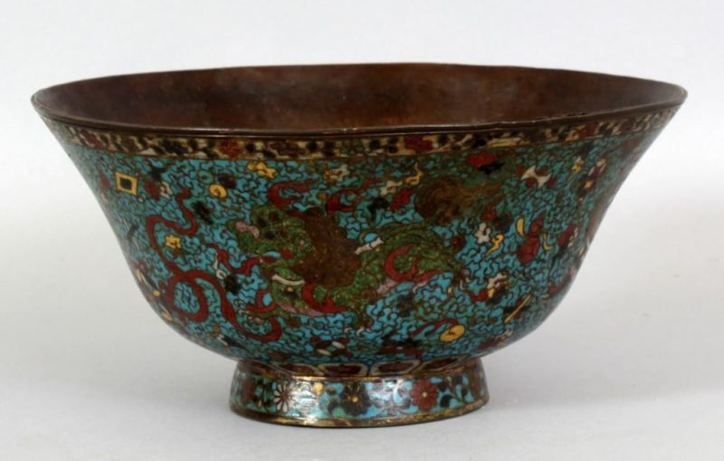 A 16th Century Chinese Ming dynasty cloisonne enamel bowl, 8.6in(21.9cm) diameter & 4.1in(10.4cm) high. Bought in London 1946. £3000-5000