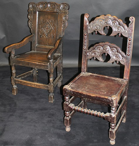 A pair of antique wainscot chairs
