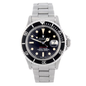 ROLEX - a gentleman's stainless steel Oyster Perpetual Date Red Submariner bracelet watch