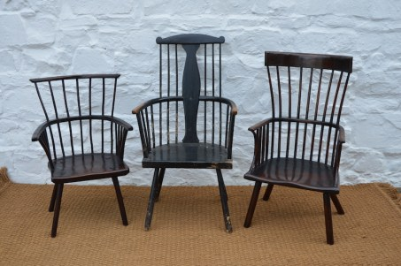 Three primitive Welsh stick chairs