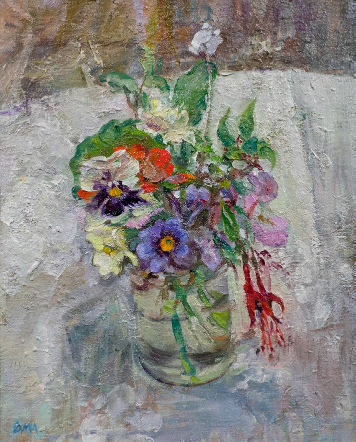 Flowers in February by Diana Armfield, oil on canvas board, £3,500, exhibited by Manya Igel Fine Arts