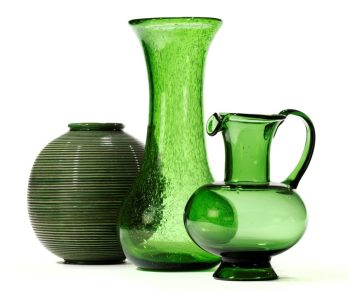 French glassware and ceramic pot