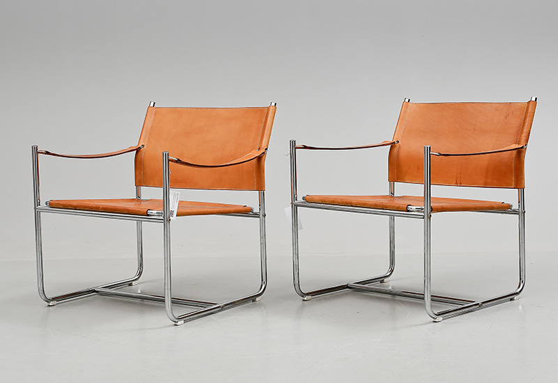 IKEA Amiral Steel & leather chairs by Karin Mobring