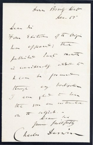 The letter signed by Charles Darwin