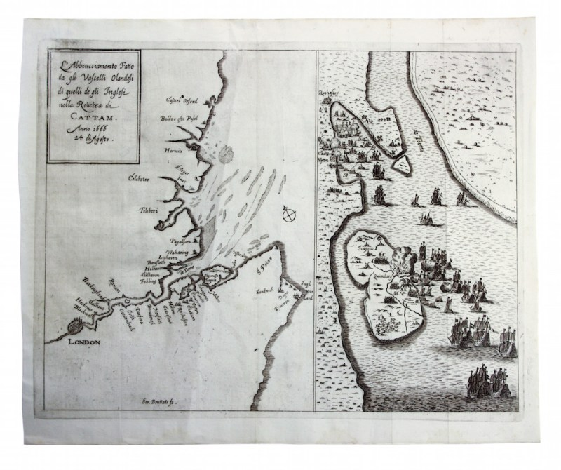 The rare map of the Dutch raid on the Medway in June 1667
