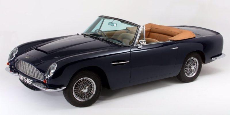 Profile angle of the Aston Martin classic car