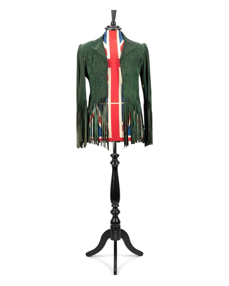 Brian Jones. A bespoke green suede fringed jacket by Ossie Clark, 1969