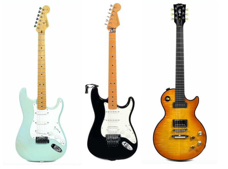 Fender '57 Reissue Stratocaster (£22,500), Fender Floyd Rose Classic Stratocaster (£23,750) Gibson Les Paul Gary Moore/Dark Fire prototype guitar (£12,500), all from the Gary Moore collection