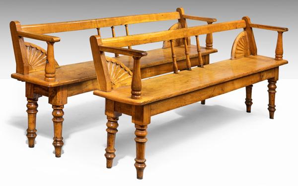 antique Irish oak benches