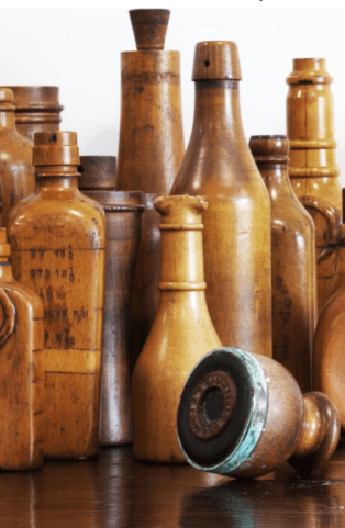 Antique wooden glass bottle moulds