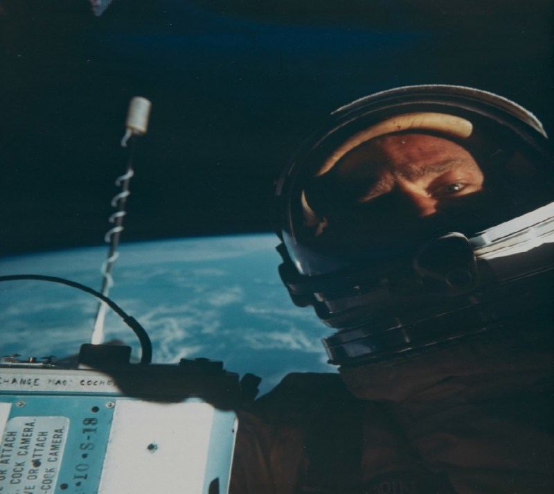 Buzz Aldrin space self-portrait