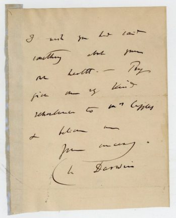 A letter from Charles Darwin