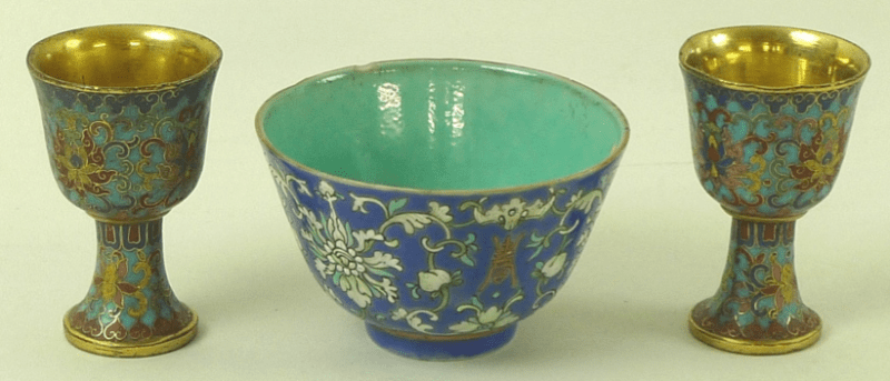 Chinese cloisonne cups