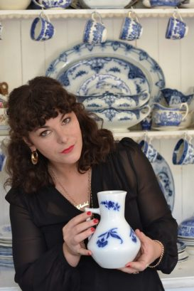 Chantal collects blue and white china