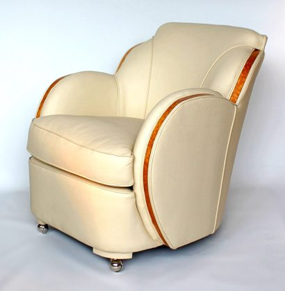 Art deco cloud back antique armchair