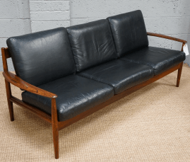 A Vintage Danish Rosewood & Black Leather Settee by Grete Jalk