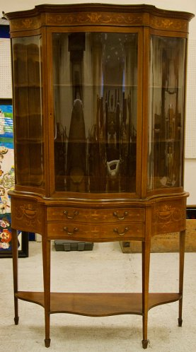 Antique Edwardian mahogany cabinet in Sheraton revival style